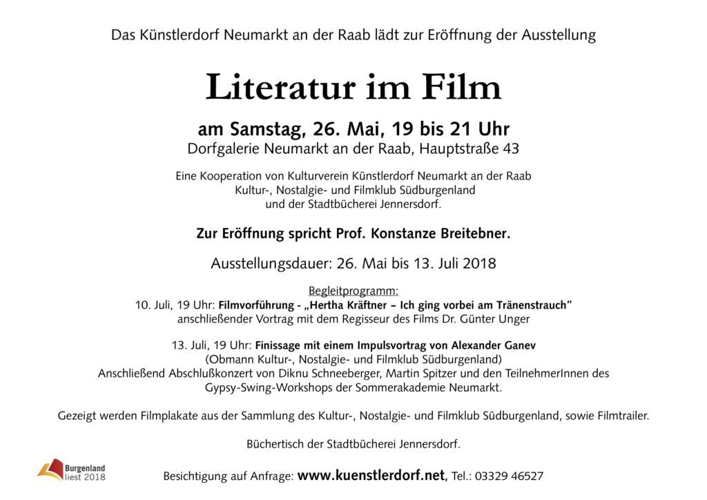 Einladung Literatur im Fim Text